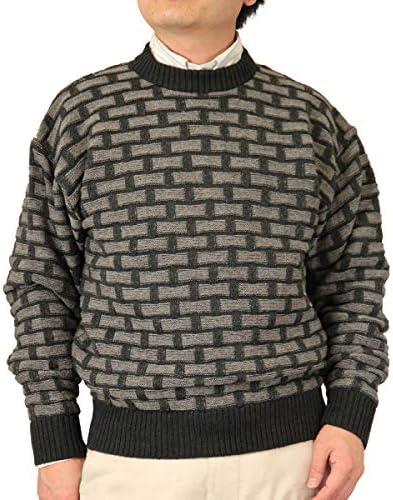 【Aspetiva】【2色:S/M/L/LL】ウール100% 7ゲージ クルーネックセーター 紳士/日本製(3079)