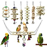 BWOGUE 7 Packs Bird Parrot Toys Natural Wood Chewing Toy Bird Cage Toys Hanging Swing Hammock Climbing Ladders Toys for Small Parakeets, Cockatiels, Conures, Finches,Budgie, Parrots, Love Birds