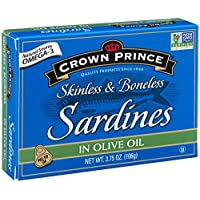 Crown Prince 12-Pack of 3.75 Oz Skinless & Boneless Sardines in Olive Oil