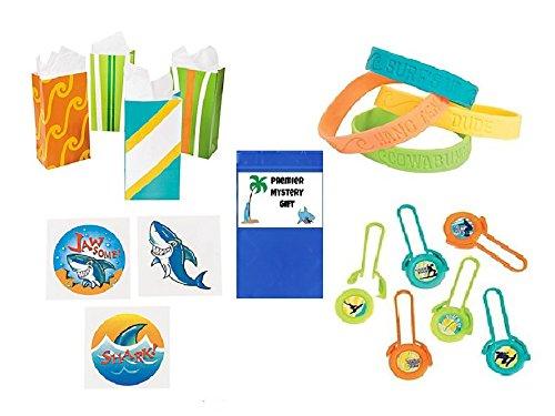 Surf's Up Party Favor Bundle Set includes Bracelets, Tattoos, Shooters & Paper Bags