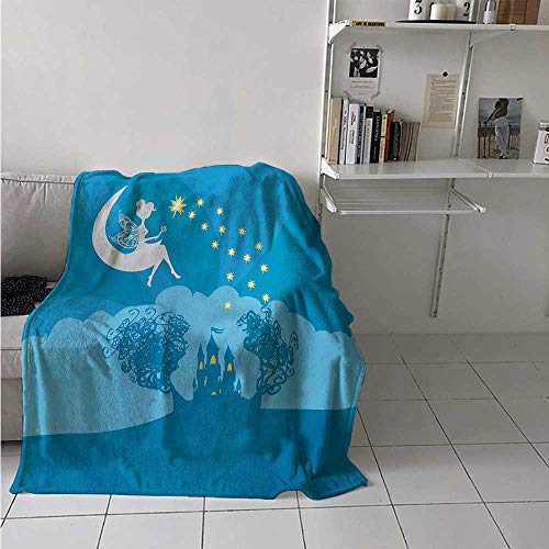 Girls Digital Printing Blanket Magical Fairy Tale Princess Castle with Female Pixie Sitting on Crescent Moon Dreamy Summer Quilt Comforter 62x60 Inch Blue White