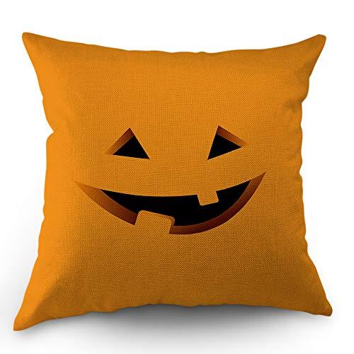 Moslion Evil Face Pillow Case Cute Halloween Autumn Pumpkin Lantern Faces Happy Father's Day Throw Pillow Cover 18x18 Inch Cotton Linen Canvas Decorative Square Cushion Cover Sofa Bed Orange -