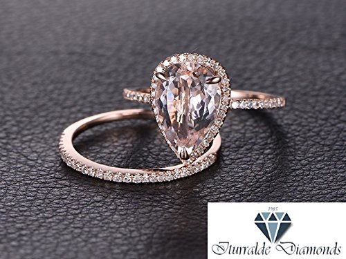 Amazon Com Large Pear Shape Morganite Engagement Ring Diamond Pave