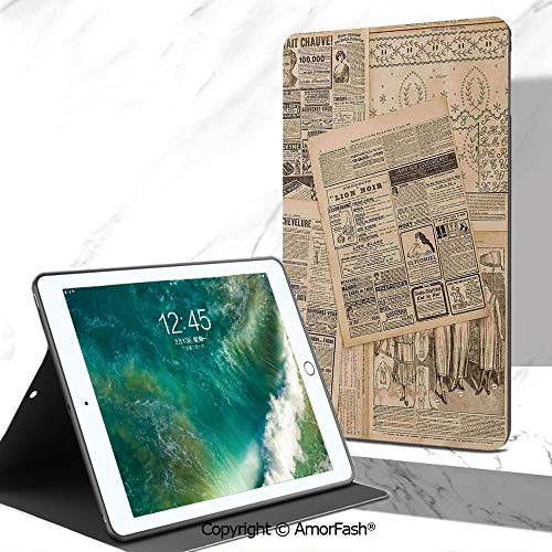 (Antique Decor Full Body Rugged Cover for Samsung Galaxy Tab A 7.0 Inch Tablet 2016 Release T280/T285,Newspaper Pages with Advertising and Fashion Magazine for Woman Edwardian Publicity Image)