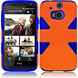 Cell Accessories For Less (TM) HTC One M8 Dynamic Slim Hybrid Cover Case - Orange+Blue Bundle (Stylus & Micro Cleaning Cloth) - By TheTargetBuys