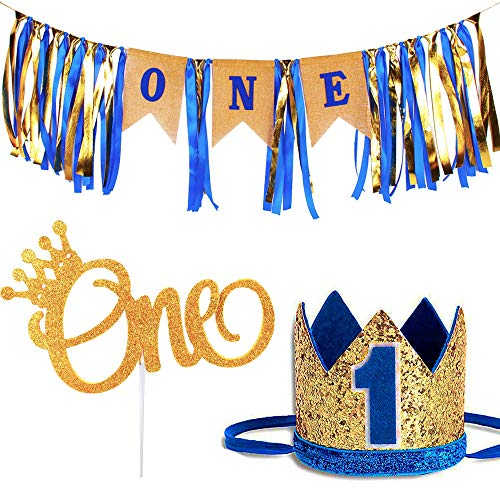 1st Birthday Baby Boy Royal Decorations - Boys Highchair Burlap Decoration Supplies Set, First Blue Prince Crown Hat, ONE Glitter Gold Crown Cake Topper - Double Sided with Crown | Smash Party Decor