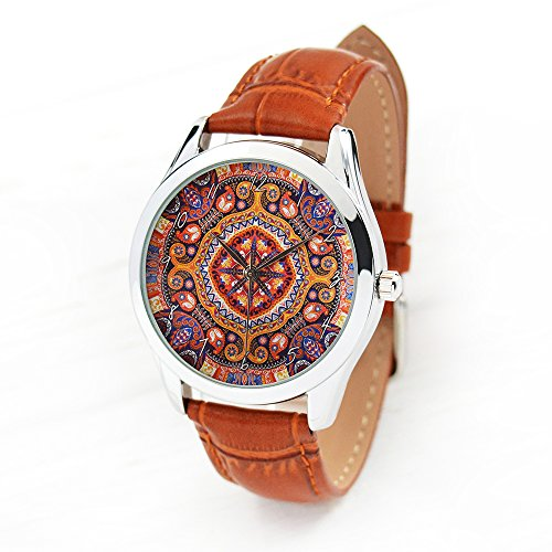 Boho Flower Women's Watch - Boho Chic Style Quartz Ladies Watch with Leather Band - Anniversary Gift for (Chic Ladies Watch)