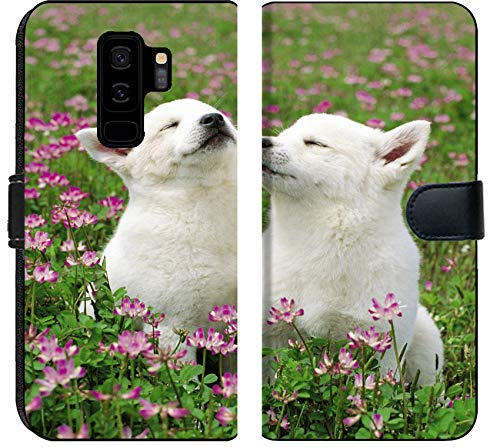 (Samsung Galaxy S9 Plus Flip Fabric Wallet Case Image of Animal Dog White Puppy Shepherd Switzerland Fur Dogs Outside pup Exterior Horizontal Adorable Nature gra)