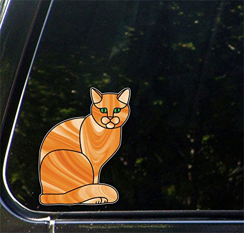 Orange Ginger Charming Cat Stained Glass Style - Car | Truck | Vehicle | Outdoor Use Vinyl Decal - Copyright 2016 Yadda-Yadda Design Co. (5.5