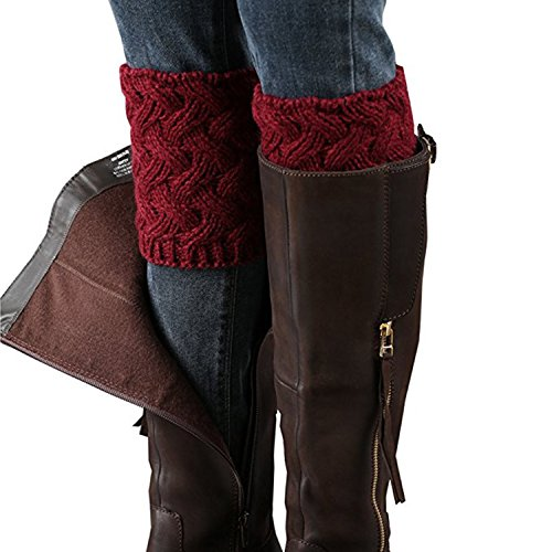 - Bestjybt Womens Short Boots Socks Crochet Knitted Boot Cuffs Leg Warmers Socks, Red