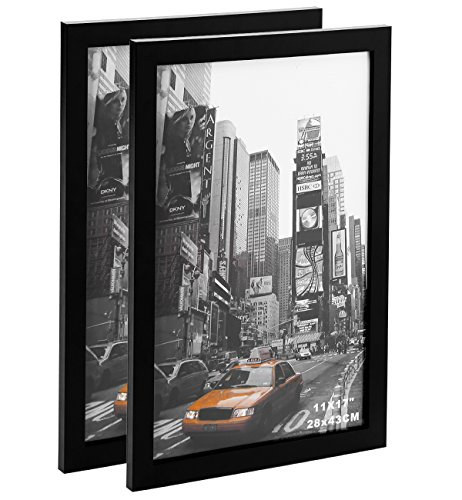 2 Pack 11x17 Picture Photo Frames - Made to Display Legal Sized Paper Wall Mounting Material Included Black by Last G