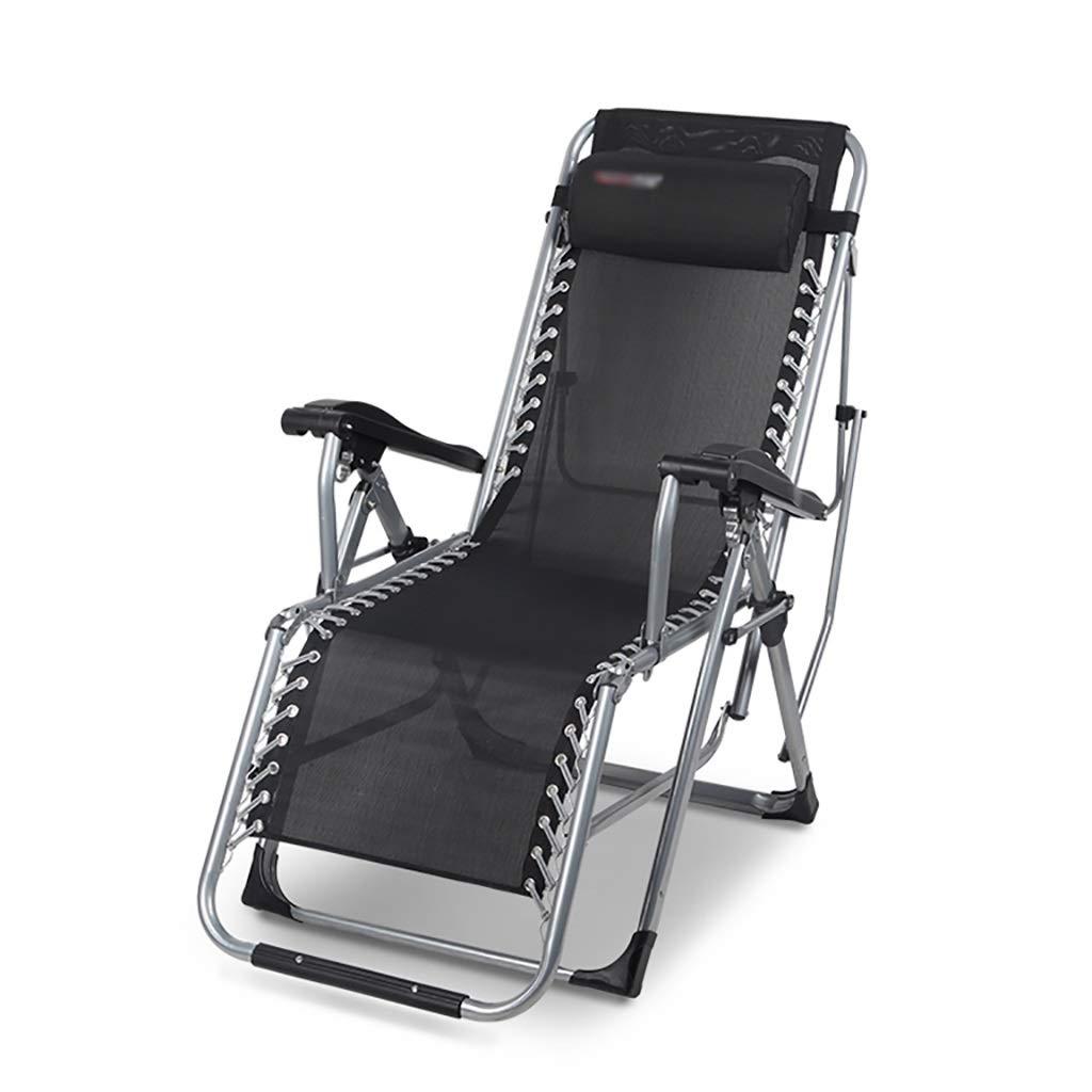ポータブル ゼロ重力の椅子枕が付いている屋外の調節可能な折るラウンジチェア(黒) B07T68PRTM