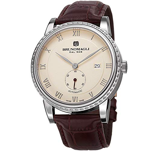 - Bruno Magli Men's Limited Edition Swiss Made Automatic Watch with Italian Bordeaux Leather Strap