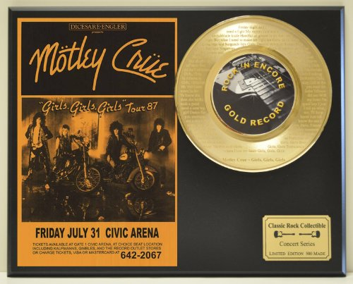 """MOTLEY CRUE""""Girls Girls Girls"""" 24kt Gold 45 Record LTD Edition Display Laser Etched w/Lyrics Only 500 made. Limited quanities. FREE US SHIPPING"""