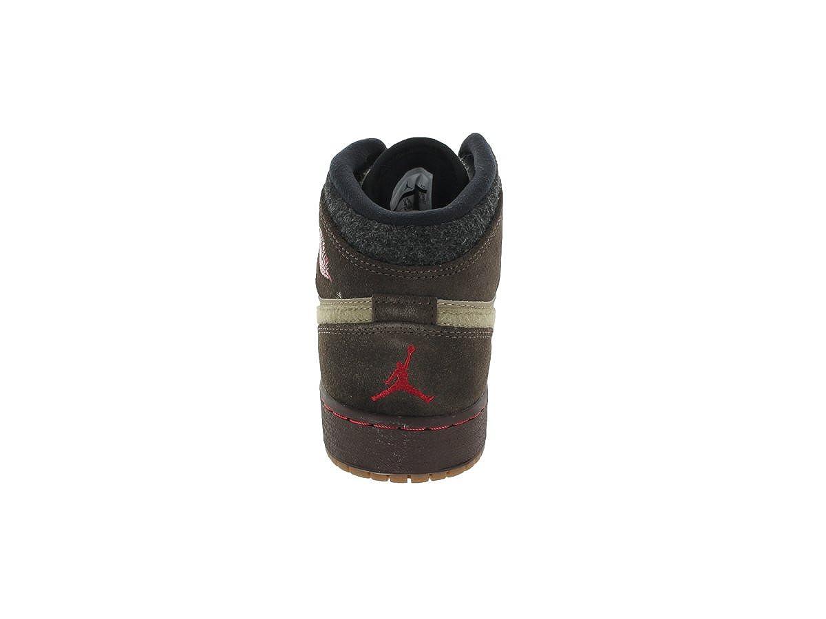 619049-205 AIR Jordan Boys Youth AIR Jordan 1 MID PREM Grade School Sneakers AIR JORDANBAROQUE BRWN//Gym RED-KHK-BLCKM
