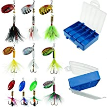 FouceClaus Fishing Lures 10pcs Spinner Lures Baits with Tackle Box, Bass Trout Salmon Hard Metal Rooster Tail Fishing Lures Kit by