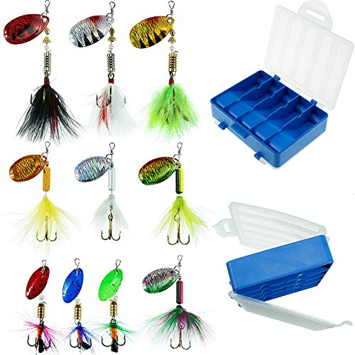 FouceClaus Fishing Lures 10pcs Spinner Lures Baits with Tackle Box, Bass Trout Salmon Hard Metal Rooster Tail Fishing Lures Kit (Best Inline Spinners For Trout)