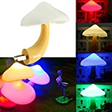 Miss.AJ 2 PC Magic Mini Pretty Mushroom-Shaped Energy Saving LED Night Light with Romantic Light Sensor Lamp