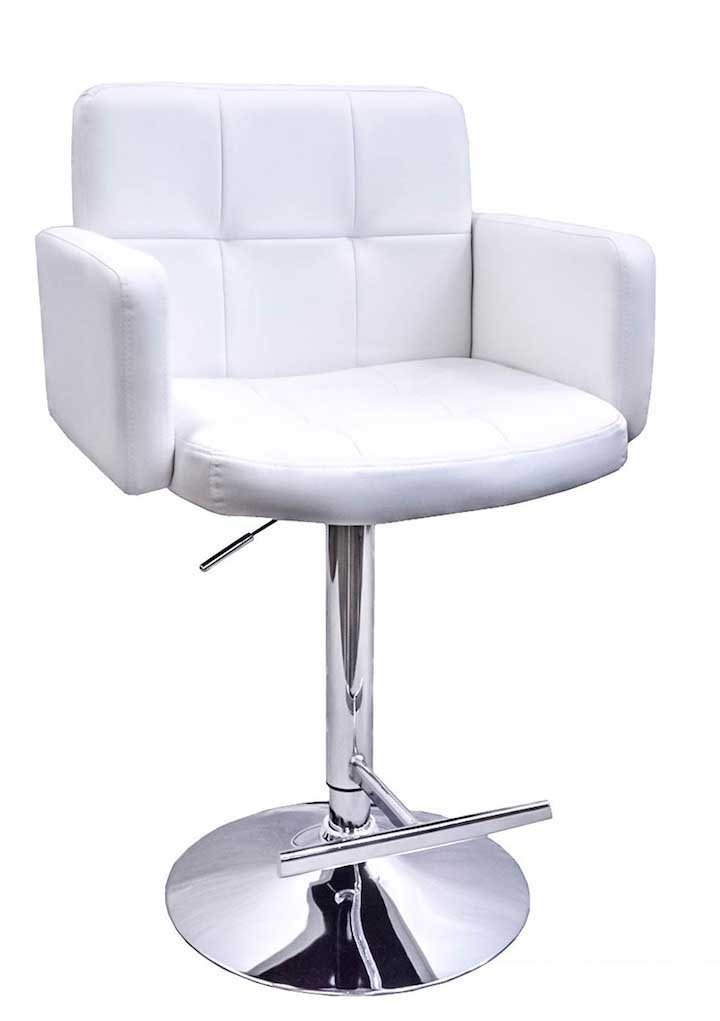 DevLon NorthWest PU Leather Bar Stool Modern Swivel Hydraulic Dining Kitchen Chair White