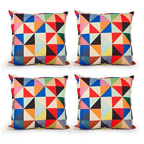 - Top Finel Square Decorative Throw Pillow Covers Cotton Linen Outdoor Cushion Covers 18 X 18 for Sofa, Set of 4 - Triangle