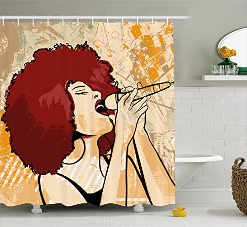 Afro Shower Curtain by Lunarable, Popular Singer Karaoke Style Microphone Performance African American Woman, Fabric Bathroom Decor Set with Hooks, 70 Inches, Burgundy Beige Orange