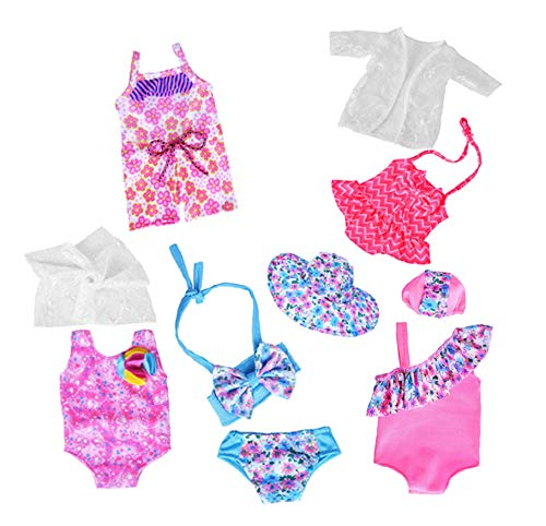 5c569eccdd61 Doll Bikini Sets Accessories Total 10 Piece Hawaii Holiday -18 inch Doll  Clothes Accessories Set Fits American Girl, Our Generation, Journey Girls