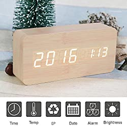 Wooden Digital Alarm Clock, SHEJIZE LED Desk Travel Mute Alarm Clock with Time Temperature and Sound Control (wood)