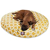 Yellow Links Large Round Indoor Outdoor Pet Dog Bed With Removable Washable Cover By Majestic Pet Products