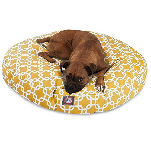 (Yellow Links Large Round Indoor Outdoor Pet Dog Bed With Removable Washable Cover By Majestic Pet)