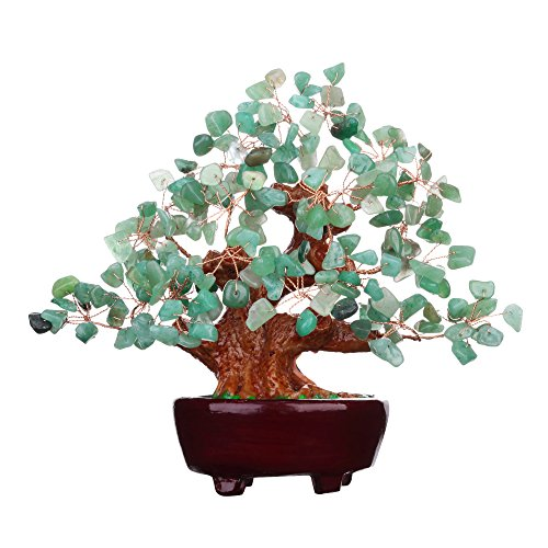 Feng Shui Aventurine Quartz Gem Stone Money Tree Natural Green Crystal Art Decoration Office Living Room Good Luck ()