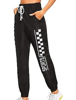 d3b11d741bf9d7 Romwe Women's Elastic Waist Drawstring Color Block Sporty Running  Windbreaker Pants with Pockets