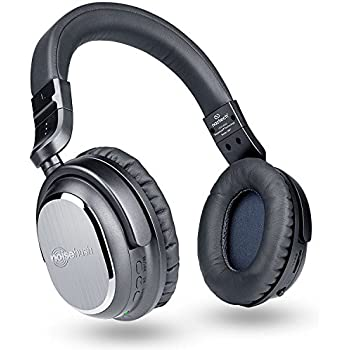 Naztech i9 Wireless Active Noise Cancelling 4.1 Bluetooth Headphones with in-line Microphone Up to 30 hrs Playtime for iPhones, Smartphones, Tablets, Computers, TV & Work/Airplane Adapter Included