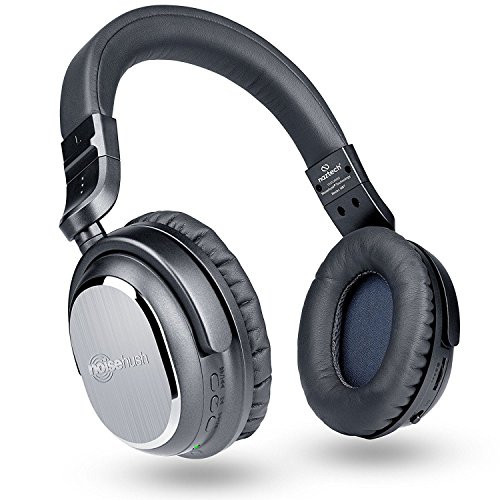 Naztech i9 Wireless Active Noise Cancelling 4.1 Bluetooth Headphones with In-line Microphone Up to 30 hrs Playtime for iPhones, Smartphones, Tablets, Computers, TV & Work/Airplane Adapter Included by Naztech