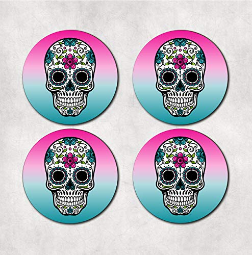 (Sugar skull drink coasters. Set of 4)