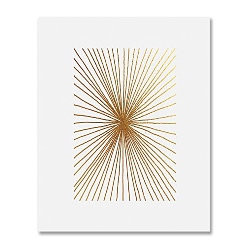 Burst Lines Gold Foil Art Print Abstract Hand Drawn Metallic...