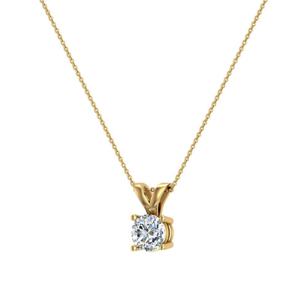 14K Gold Necklace Round Brilliant Solitaire Diamond Pendant
