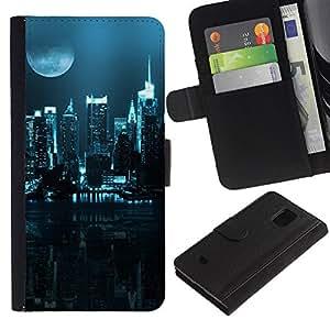 A-type (Ciudad Nocturna) Colorida Impresión Funda Cuero Monedero Caja Bolsa Cubierta Caja Piel Card Slots Para Samsung Galaxy S5 Mini (Not S5), SM-G800