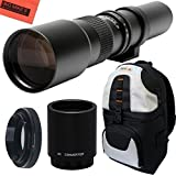 High-Power 500mm/1000mm f/8 Manual Telephoto Lens + Deluxe SLR BackPack for Sony Alpha E-Mount a7r, a7s, a7, a6000, a5100, a5000, a3000, NEX-7, NEX-6, NEX-5T, NEX-5N, NEX-5R and NEX-3N