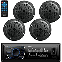 Bluetooth Marine Receiver Stereo & Speaker Kit, Hands-Free Calling, Wireless Streaming, MP3/USB/SD Readers, AM/FM Radio, (4) 6.5? Waterproof Speakers (Black)