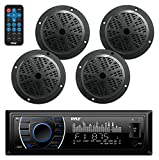 Marine Head Unit Receiver Speaker Kit - In-Dash LCD Digital Stereo Built-in Bluetooth & Microphone w/AM FM Radio System 6.5'' Waterproof Speakers (4) MP3/SD Readers & Remote Control - Pyle PLMRKT48BK