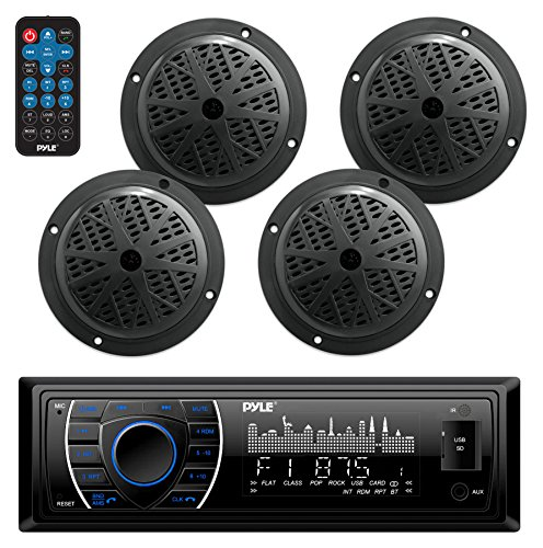 Marine Head Unit Receiver Speaker Kit - In-Dash LCD Digital Stereo Built-in Bluetooth & Microphone w/AM FM Radio System 6.5'' Waterproof Speakers (4) MP3/SD Readers & Remote Control - Pyle PLMRKT48BK -