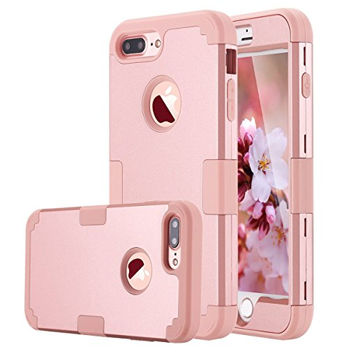 80s Phone (iPhone 7 Plus Case, AOKER Shockproof Hybrid Heavy Duty High Impact Hard Plastic+Soft Silicon Rubber Armor Defender Case Cover for Apple iPhone 7 Plus 5.5 Inch (2016) (Rose Gold))