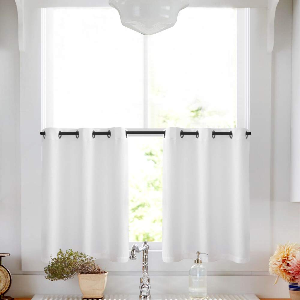 "White Sheer Tier Curtains for Kitchen Casual Weave Short Window Curtian Privacy Semi Sheer Curtains for Living Room, 1 Pair, 36"" Long"