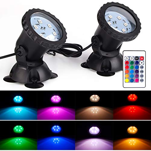 S SMIFUL Pond Light IP68 Submersible Spotlight Remote Control 6 Bright LED Chips RGB Color Changing Waterproof Lawn Spot Light for Aquarium Garden Pond Pool Tank Fountain Waterfall (Set of 2)