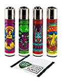 Bundle - 5 Items - Clipper Lighter'Psychedelic Fairy' Collection with Leaf Lock Gear Premium Flints