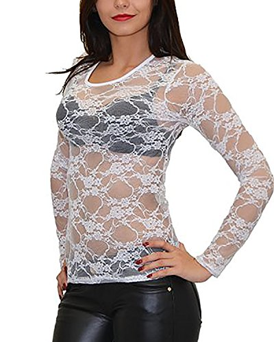 ZANZEA Women's Lace Mesh Crew Neck Transparent Long Sleeve Tops Shirt Blouse (US 14, White)