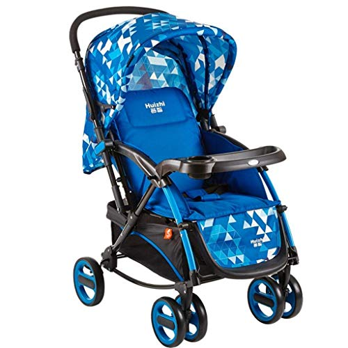 16-Thundertechs Baby Carriage-Baby Trolley Two-Way Push Rod Foldable Carbon Steel Frame Adjust Backrest C Be a Rocking Chair Cradle Adjustable Sunshade ti-Uv Baby Carriage (Color : Blue)
