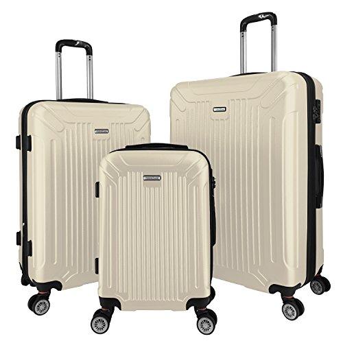 3 PC Luggage Set Durable Lightweight Spinner Suitecase LUG3 GL8216 IVORY