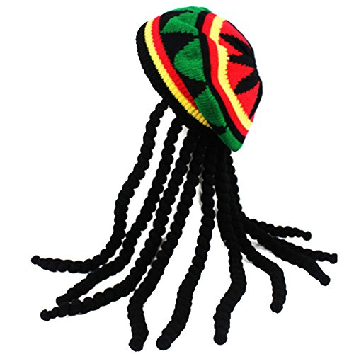 Rasta Hat with Dread lock Like Long Black Hair - Rasta Wig With Cap Costume Accessory -