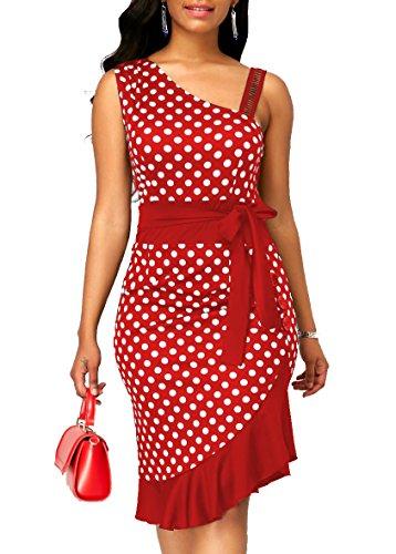 Sexy Tight Formal Dress - KISSMODA Womens Summer Sexy Sleeveless Lace Workwear Bodycon Dress One Piece Ruffles Midi Pencil Dresses with Tie Belt Red Medium